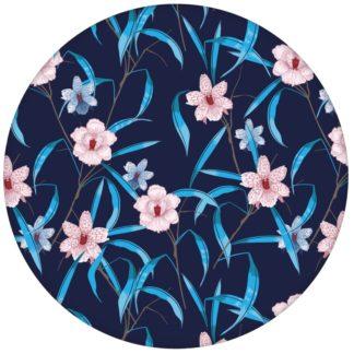 """Design Tapete """"Orchid Garden"""" mit Orchideen Blüten in blau"""