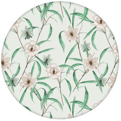 "Grüne florale Tapete ""Orchid Garden"" mit Orchideen Blüten"
