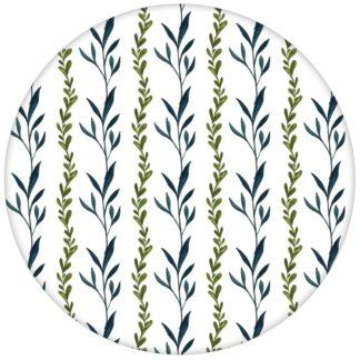 """Grüne Streifentapete """"zarte Laub Streifen"""" mit gemalten Blättern in grün"""