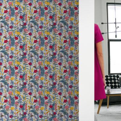 """Country Blumen Tapete """"Landblumen"""" mit Bauern Garten Blüten in blau grau Wandgestaltung Wohnzimmer"""