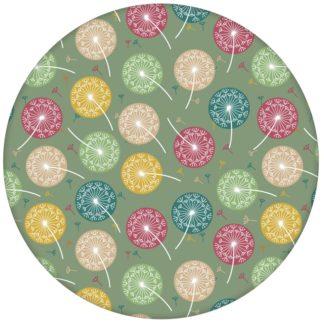 """Moderne Tapete """"Wünsch-Dir-Was"""" mit bunten Pusteblumen in grün für Schlafzimmer"""