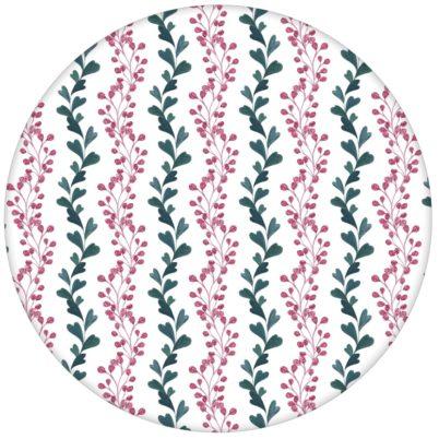 """Klassische Streifen Tapete """"zarte Laub Streifen"""" mit gemalten Blättern in rosa grün"""
