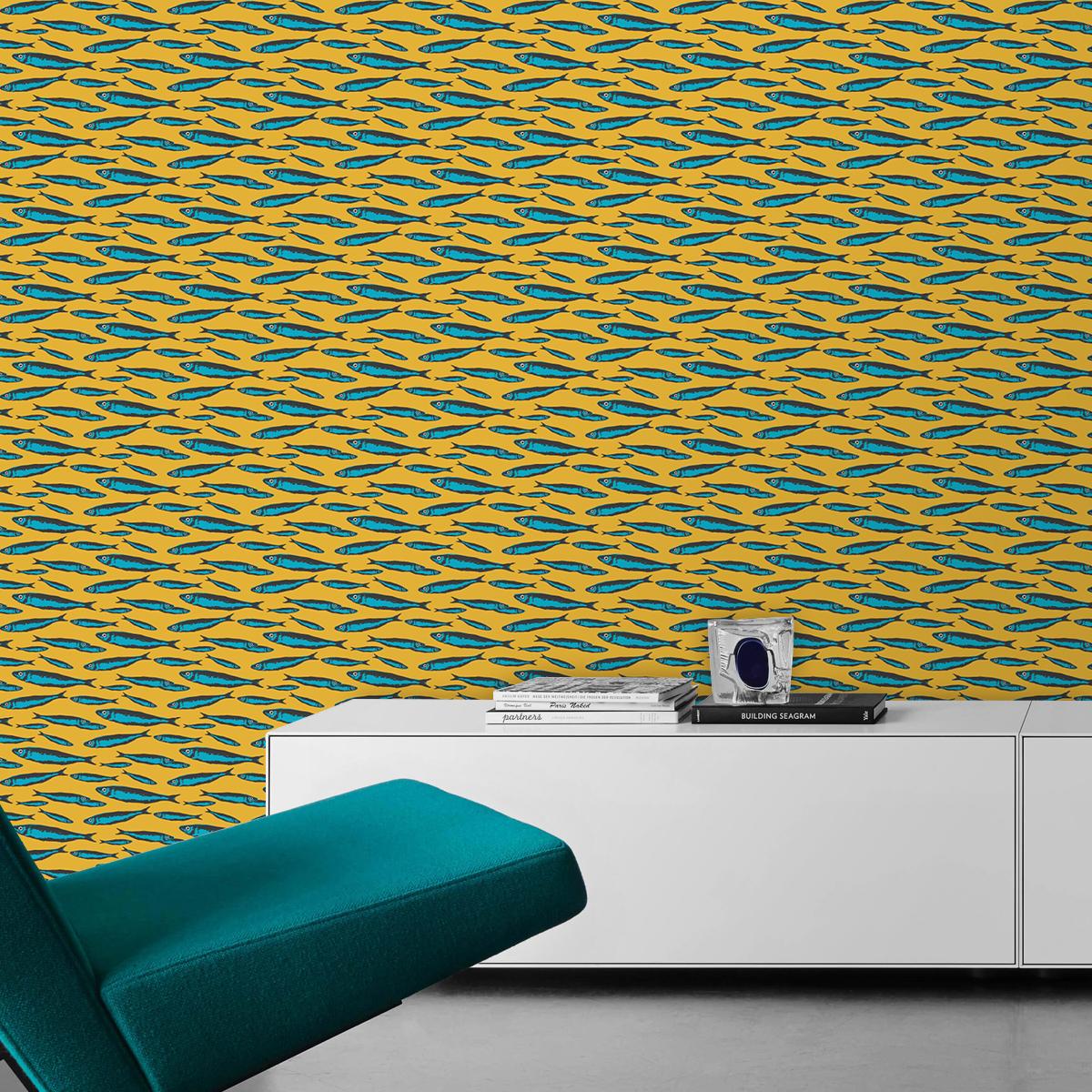 """Angler Design Tapete """"Sardinen Büchse"""" mit Fisch Schwarm in gelb Retro Wandgestaltung"""