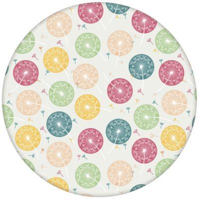 """""""Wünsch-Dir-Was"""" Design Tapete mit bunten Pusteblumen in grün beige"""