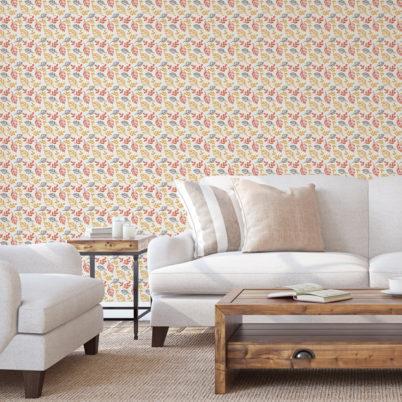 """Orange Design Tapete """"Blätterrauschen"""" modern, grafisch, leicht"""