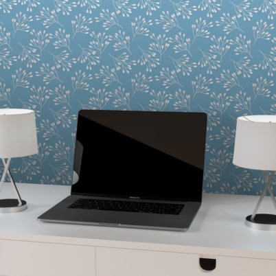 """Hellblaue Design Tapete """"Blüten Dolden"""" mit grafisch leichte Wandgestaltung"""