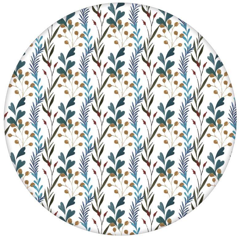 """Blaue Streifen Tapete """"zarte Laub Streifen"""" mit gemalten Blättern"""