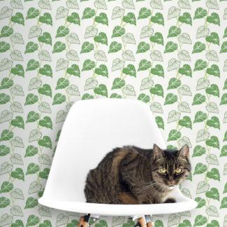 "Wandtapete creme: Grüne florale Tapete ""Laubengang"" mit Blatt Ranken, Vliestapete Blumen Natur Garten"