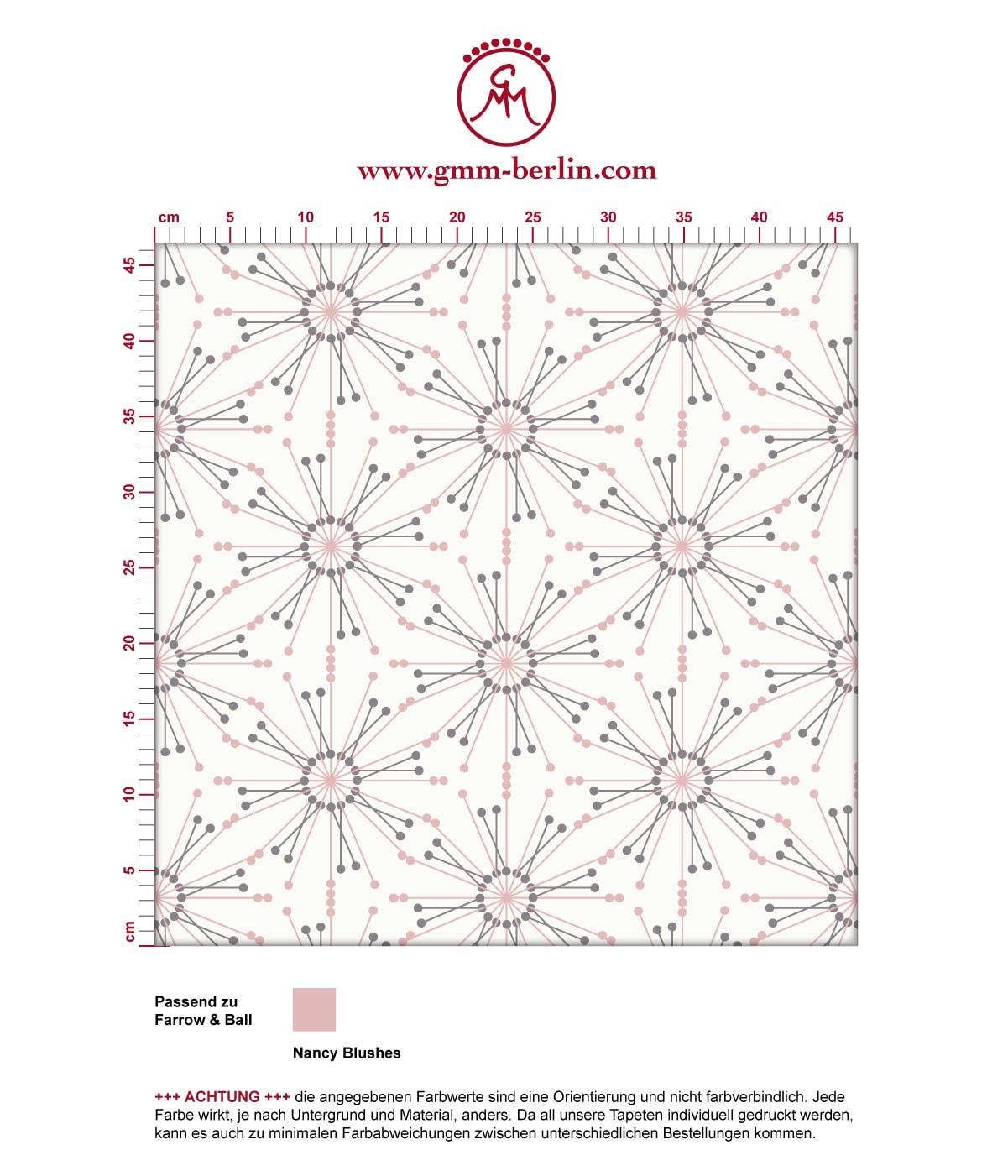 "Leichte Tapete ""Sonnenstern"" in rosa angepasst an Farrow and Ball Wandfarben 3"