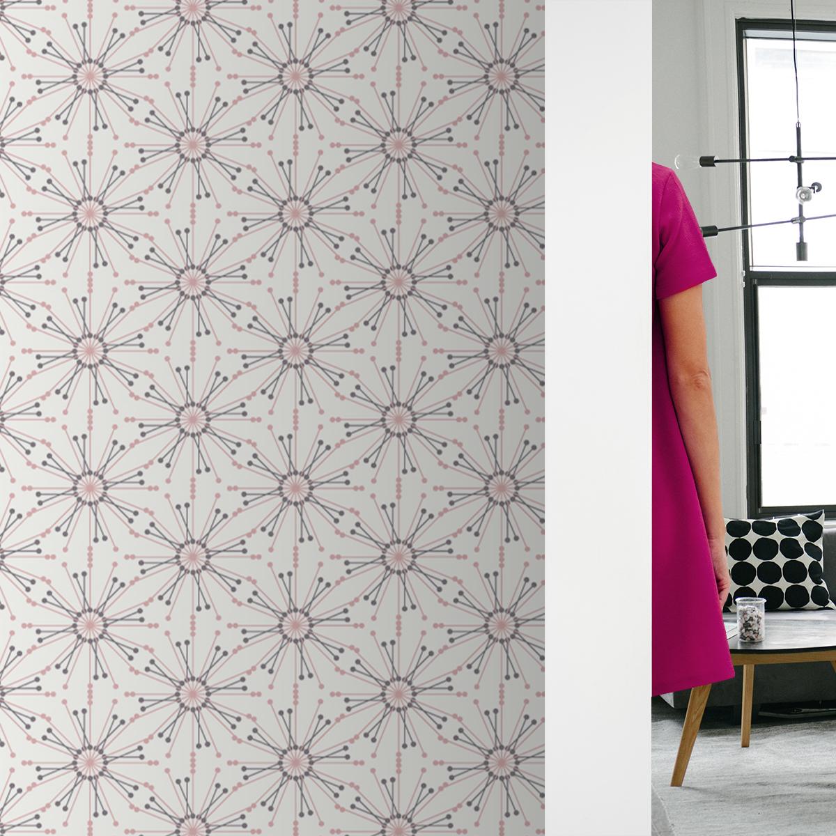 """Leichte Design Tapete """"Sonnenstern"""" in rosa Wohnzimmer Küche Flur"""