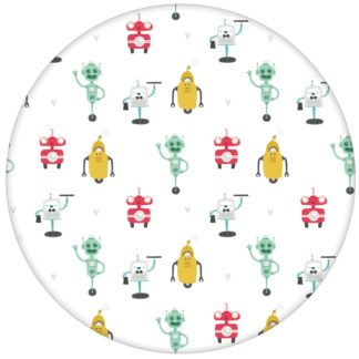 """Coole Jugendzimmer Tapete """"Robot Friends"""" für Kinderzimmeraus dem GMM-BERLIN.com Sortiment: weisse Tapete zur Raumgestaltung: #Ambiente #Comic #interior #interiordesign #kinder #Roboter #Stil #Technik #weiss für individuelles Interiordesign"""