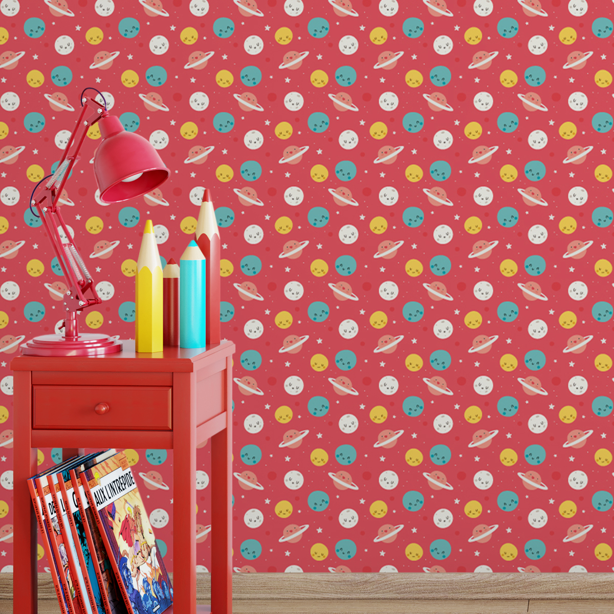 """Kinderzimmer Kindertapete """"Planeten Zauber"""" in rot für Astronauten Wandgestaltung"""