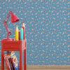 Wandtapete mittelblau: Comic Kindertapete