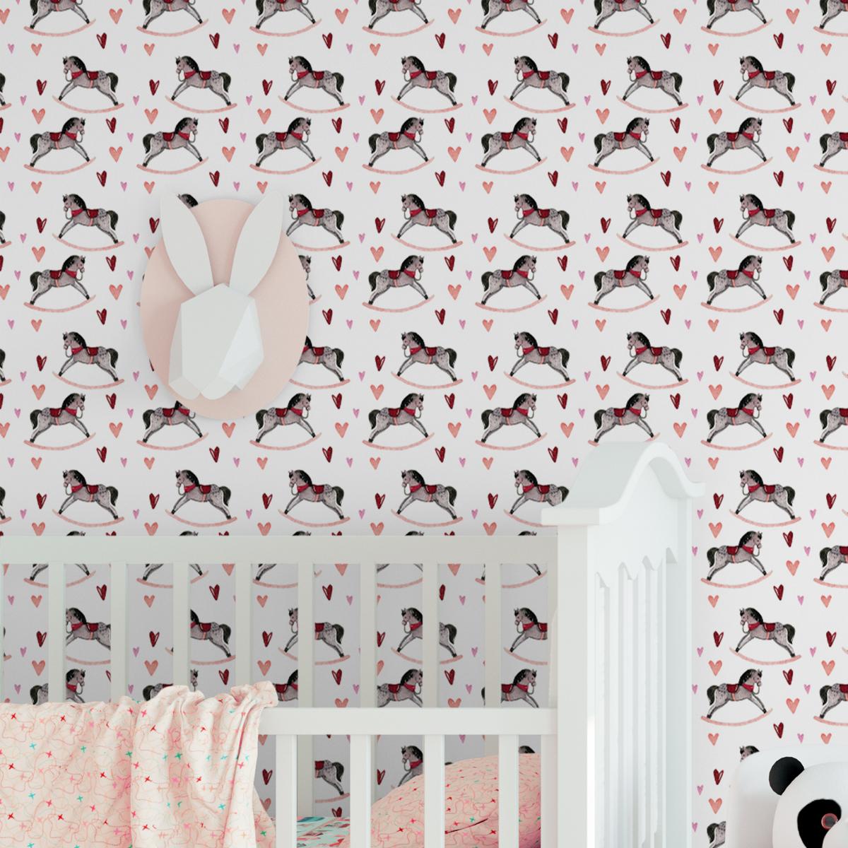 """Kindertapete weiss: Rosa Baby Kindertapete """"Hottehü"""" mit Schaukelpferd und Herzen Kinderzimmer"""
