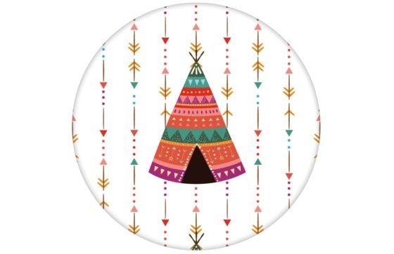 """Bunte Indianer Streifen Tapete """"Powwow"""" mit Pfeilen und Wigwam"""