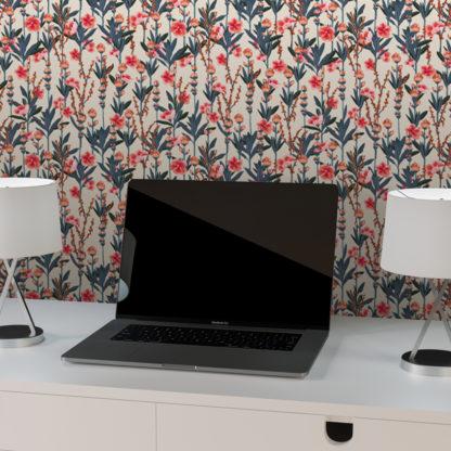 """Tapete Wohnzimmer creme: Florale Tapete """"Mein schöner Garten"""" mit Oleander Wohnzimmer Wandgestaltung"""