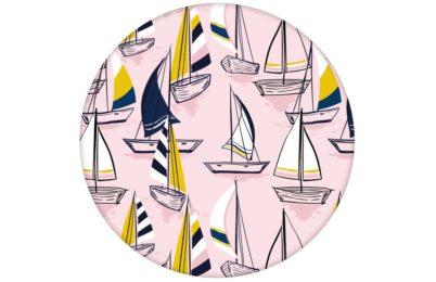 """Rosa Frische Segler Tapete """"Lago Maggiore"""" mit Booten angepasst an Liitle Greene Farben"""