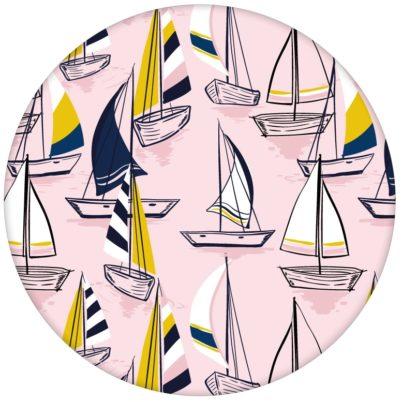 """Rosa Frische Segler Design Tapete """"Lago Maggiore"""" mit Booten"""