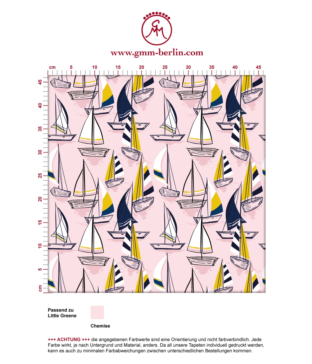 """Rosa Frische Segler Tapete """"Lago Maggiore"""" mit Booten angepasst an Liitle Greene Farben 3"""