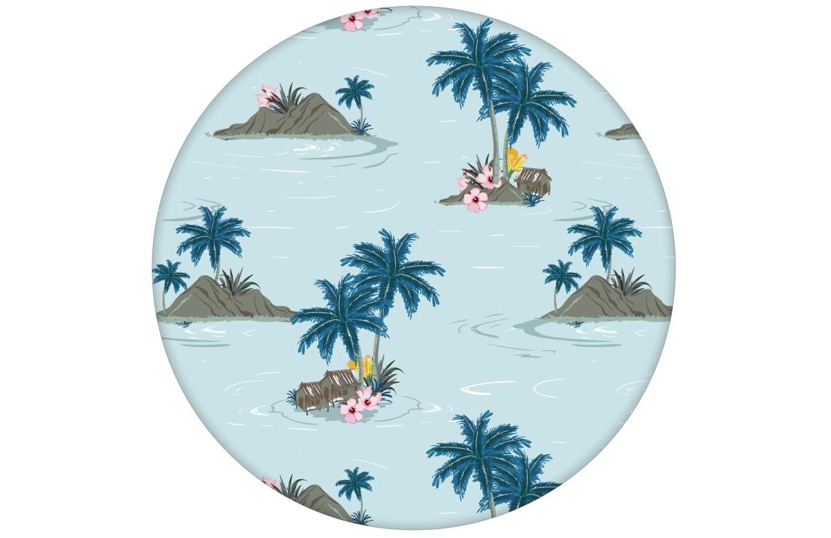 """Vintage Ferien Vliestapete """"Aloha"""" mit Hawaii Inseln und Blüten"""