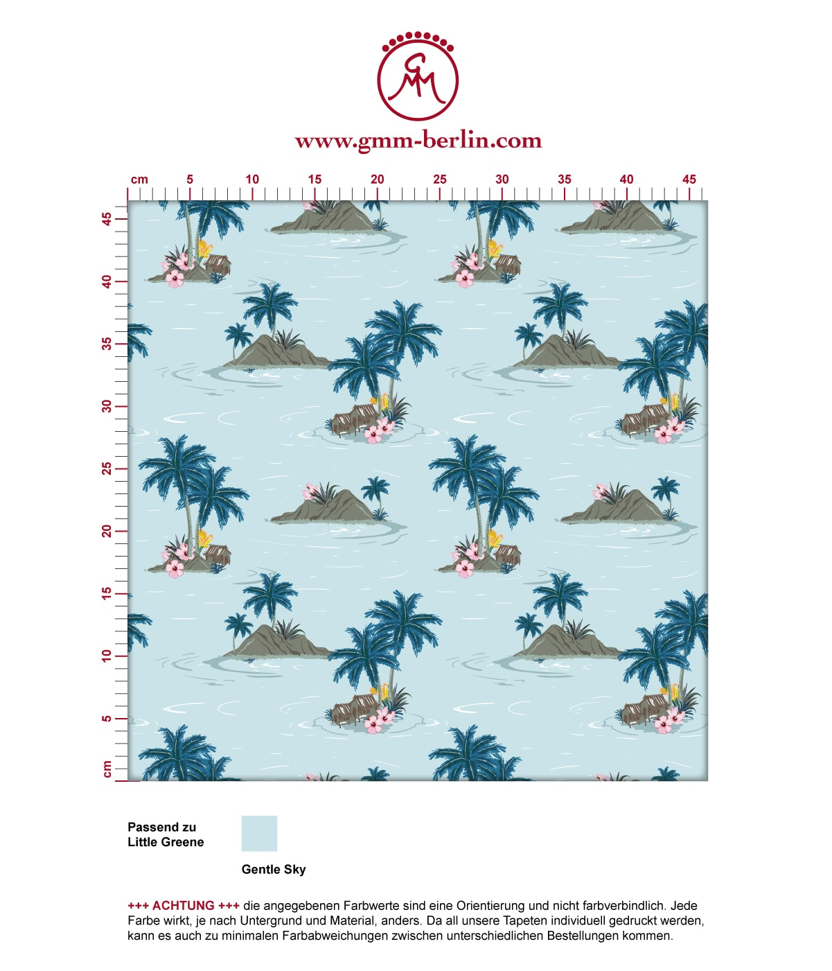 "Vintage Ferien Tapete ""Aloha"" mit Hawaii Inseln und Blüten 3"