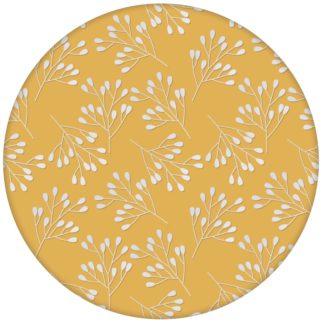 """Gelbe Wohnzimmer Tapete """"Blüten Dolden"""" mit grafischer Eleganz"""
