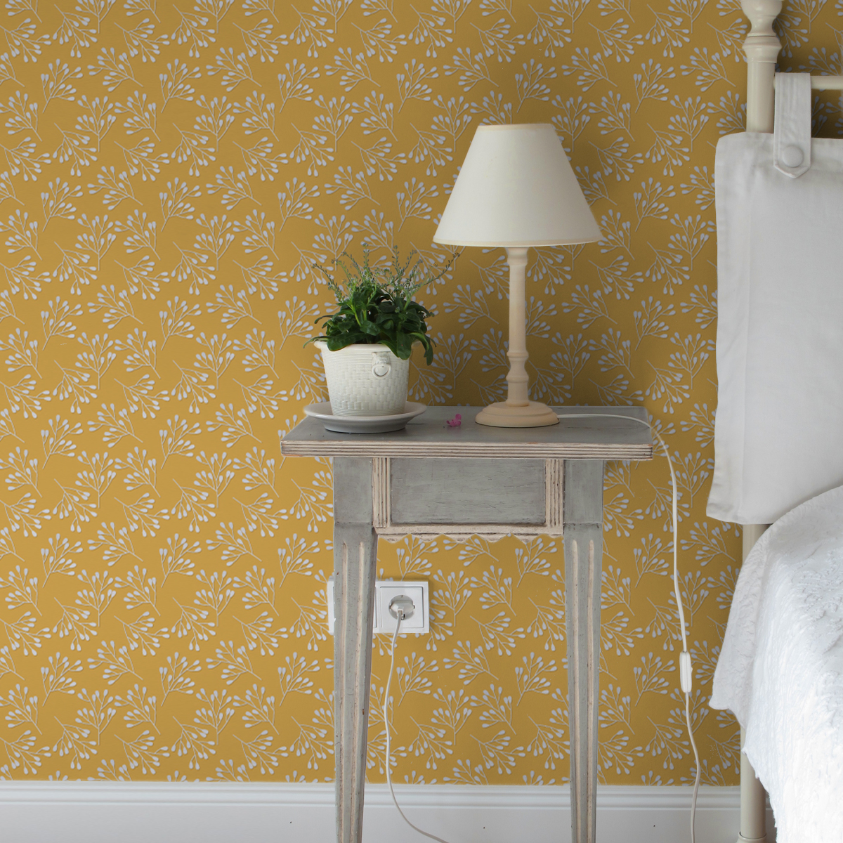 """Tapete Wohnzimmer gelb: Gelbe Design Tapete """"Blüten Dolden"""" für Wohnzimmer Schlafzimmer"""