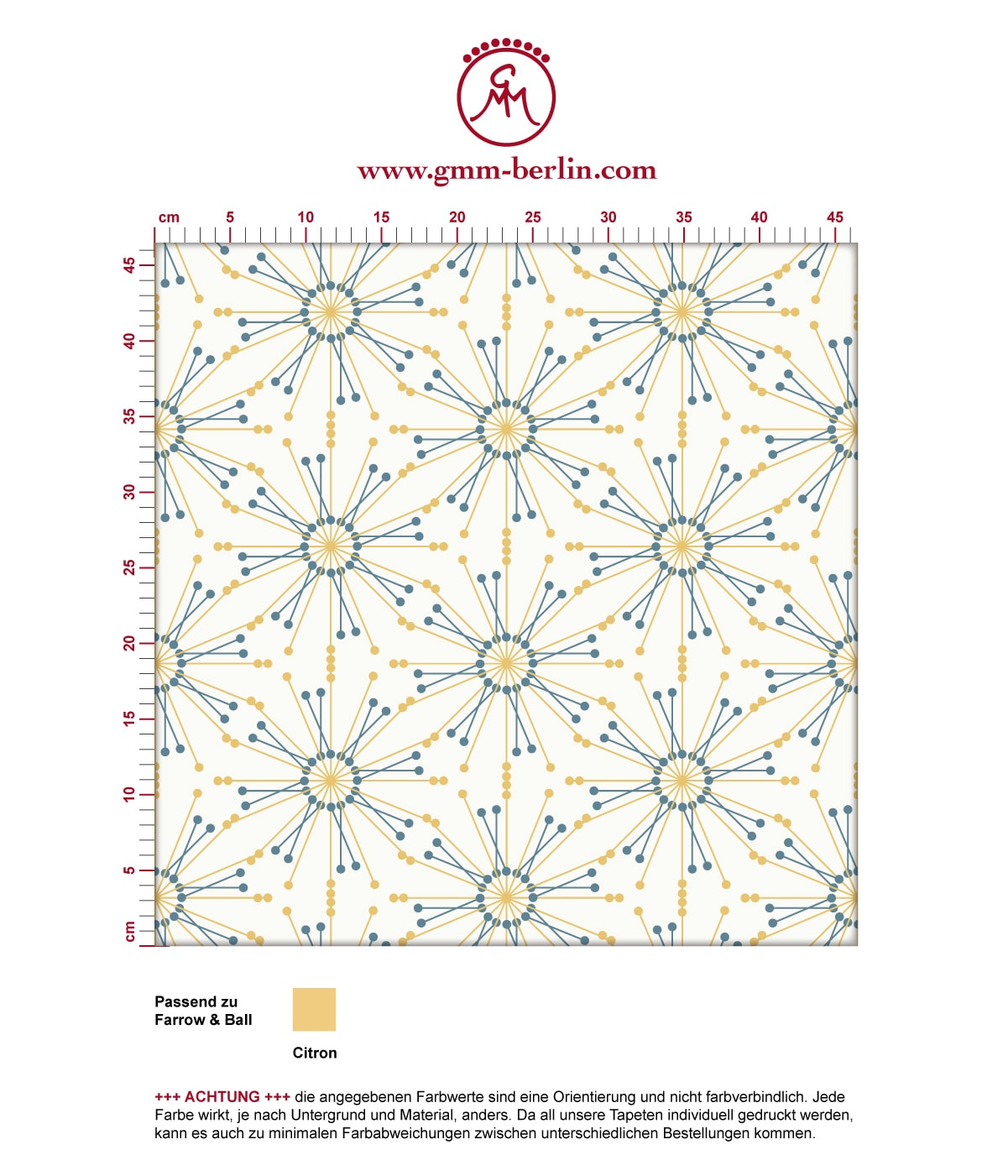 "Leichte Tapete ""Sonnenstern"" in gelb angepasst an Farrow and Ball Wandfarben 3"