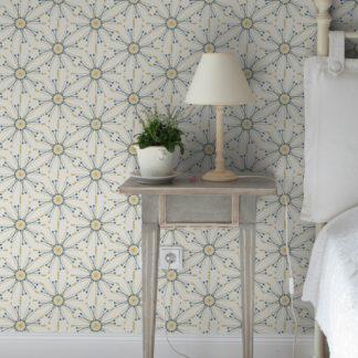 """Wandtapete creme: Leichte Design Tapete """"Sonnenstern"""", Wandgestaltung gelb"""