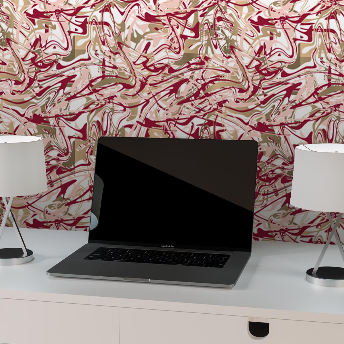 """Tapete für Büroräume rosa: Künstler Design Tapete """"Little Jackson"""" in rot für Büro Gang Partykeller"""