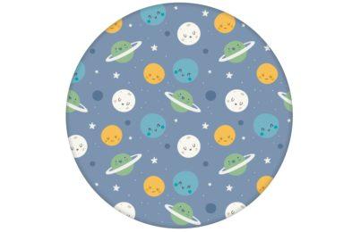 """Kinderzimmer Tapete """"Planeten Zauber"""" in blau für Astronauten Weltraum Fans"""
