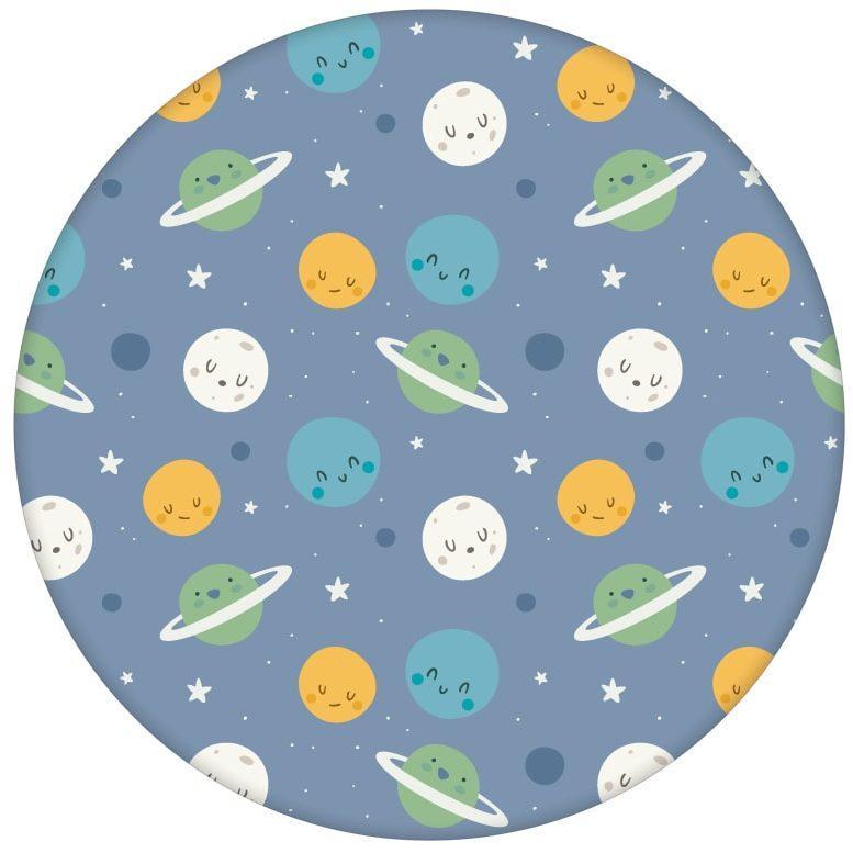 """Kinderzimmer Tapete """"Planeten Zauber"""" blau für Astronauten Weltraum Fansaus dem GMM-BERLIN.com Sortiment: blaue Tapete zur Raumgestaltung: #Ambiente #blau #Comic #interior #interiordesign #kinder #Planeten #Stil #Weltraum für individuelles Interiordesign"""