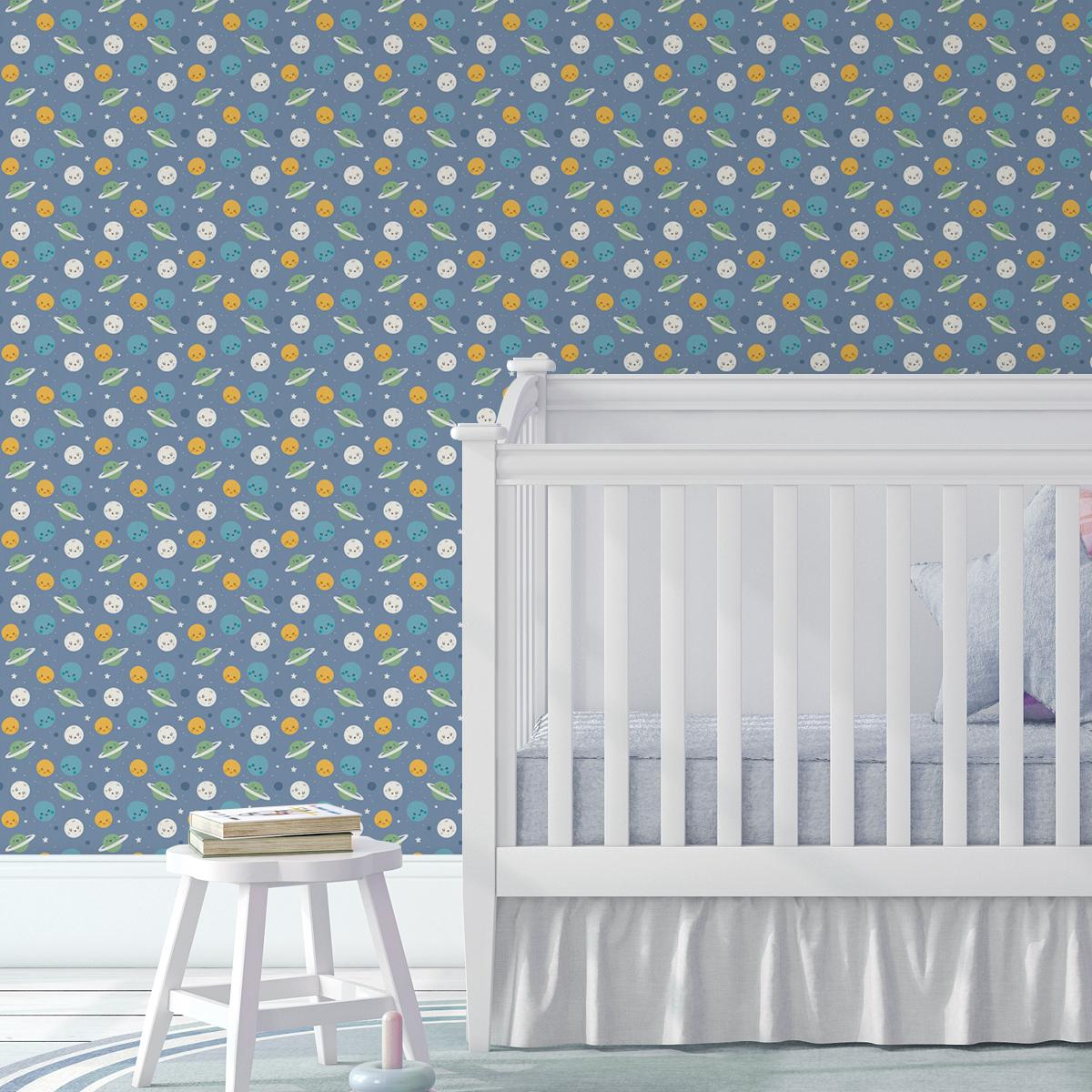 """Kinderzimmer Tapete """"Planeten Zauber"""" in blau für Astronauten Kinderzimmer"""