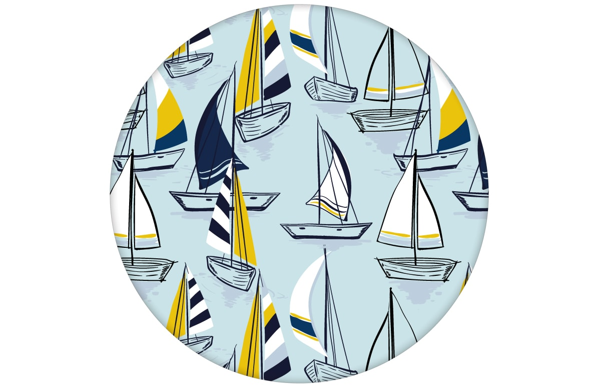 """Frische Segel Tapete """"Lago Maggiore"""" mit Booten in hellblau für Büro Flur Küche"""