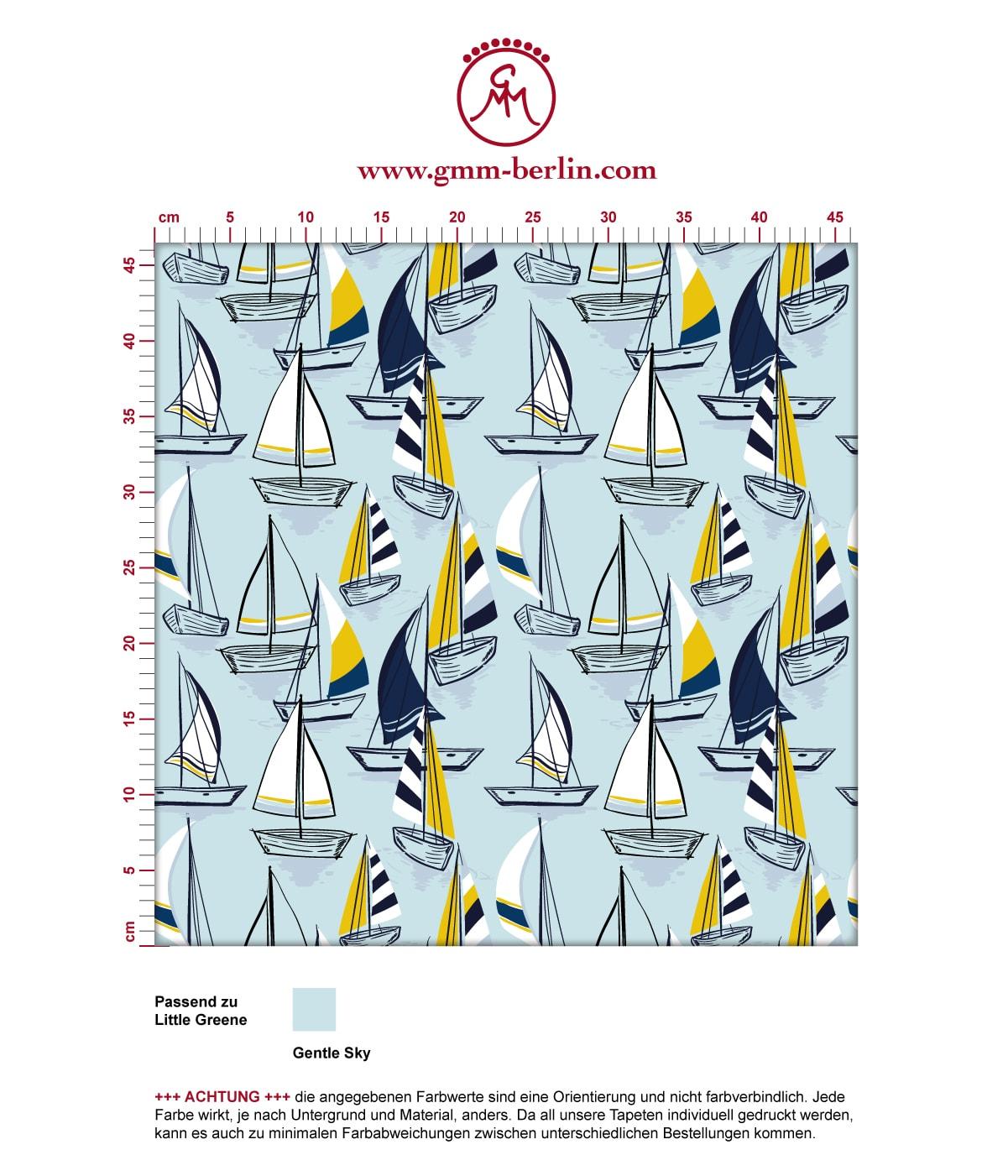 """Frische Segel Tapete """"Lago Maggiore"""" mit Booten in hellblau angepasst an Liitle Greene Farben 3"""