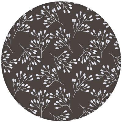 """Braune florale Tapete """"Blüten Dolden"""" mit grafischer Eleganz"""