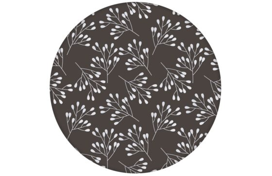 """Braune Tapete """"Blüten Dolden"""" mit grafischer Eleganz angepasst an Little Greene Wandfarben"""