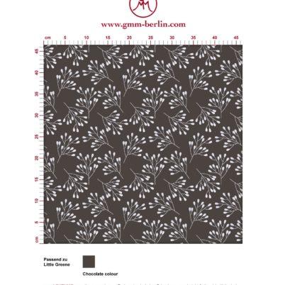 """Braune Tapete """"Blüten Dolden"""" mit grafischer Eleganz angepasst an Little Greene Wandfarben. Aus dem GMM-BERLIN.com Sortiment: Schöne Tapeten in der Farbe: dunkel braun"""