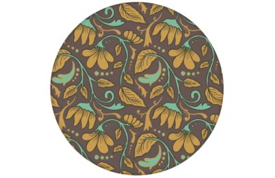 "Edle Jugendstil Tapete ""Fleur Arabesque"" mit Blüten Ranken in braun angepasst an Little Greene Wandfarben"