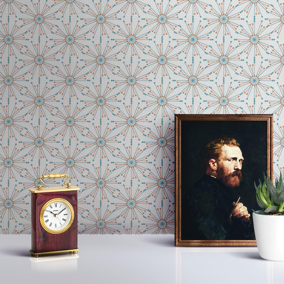 """Leichte Design Tapete """"Sonnenstern"""" in türkis Wandgestaltung grafisch"""