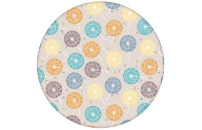 "Tapete ""Wünsch-Dir-Was"" mit bunten Pusteblumen in grau beige angepasst an Little Greene Wandfarben"