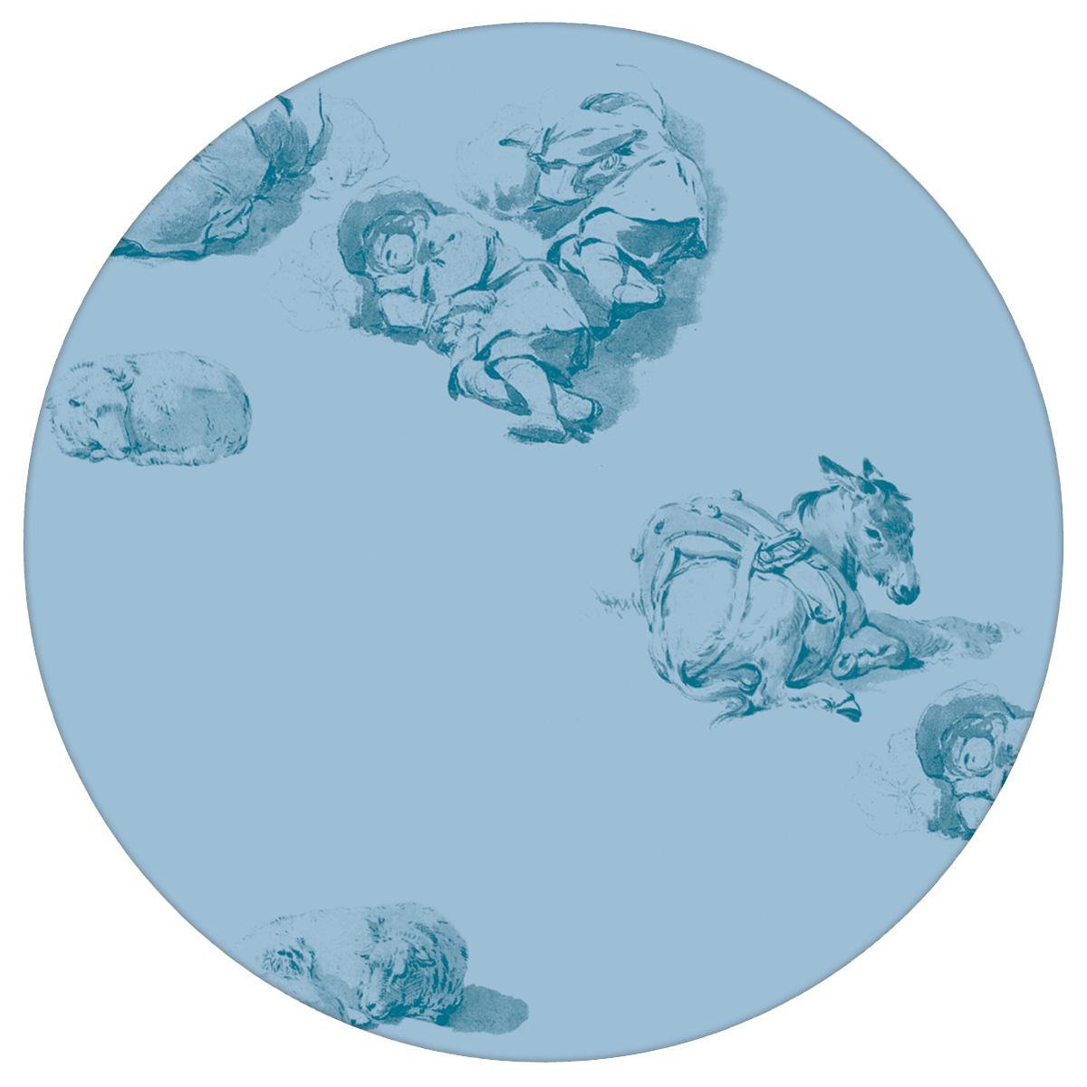 Klassische Tapete: Schlafende Hirten - Die Tapete Le Repos in blau für Schlafzimmer