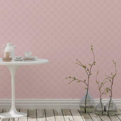 Tapete Wohnzimmer rosa: Design Tapete Art Deko Diamant mit grafischer Eleganz in hellrosa - Ornamenttapete für Wohnzimmer