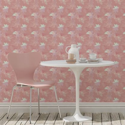 Tapete Wohnzimmer rosa: Blumentapete Wildflowers im Retro Look in rosa - florale Tapete für Wohnzimmer