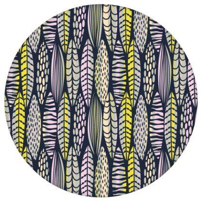 florale Tapete Streifen Blätter grafisch modern in dunkelblau - Streifentapete aus den Tapeten Neuheiten Blumentapeten und Borten als Naturaltouch Luxus Vliestapete oder Basic Vliestapete