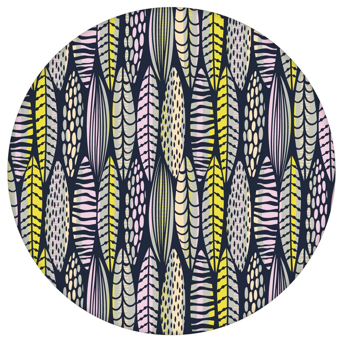 florale Tapete Streifen Blätter grafisch modern in dunkelblau - Streifentapete  2
