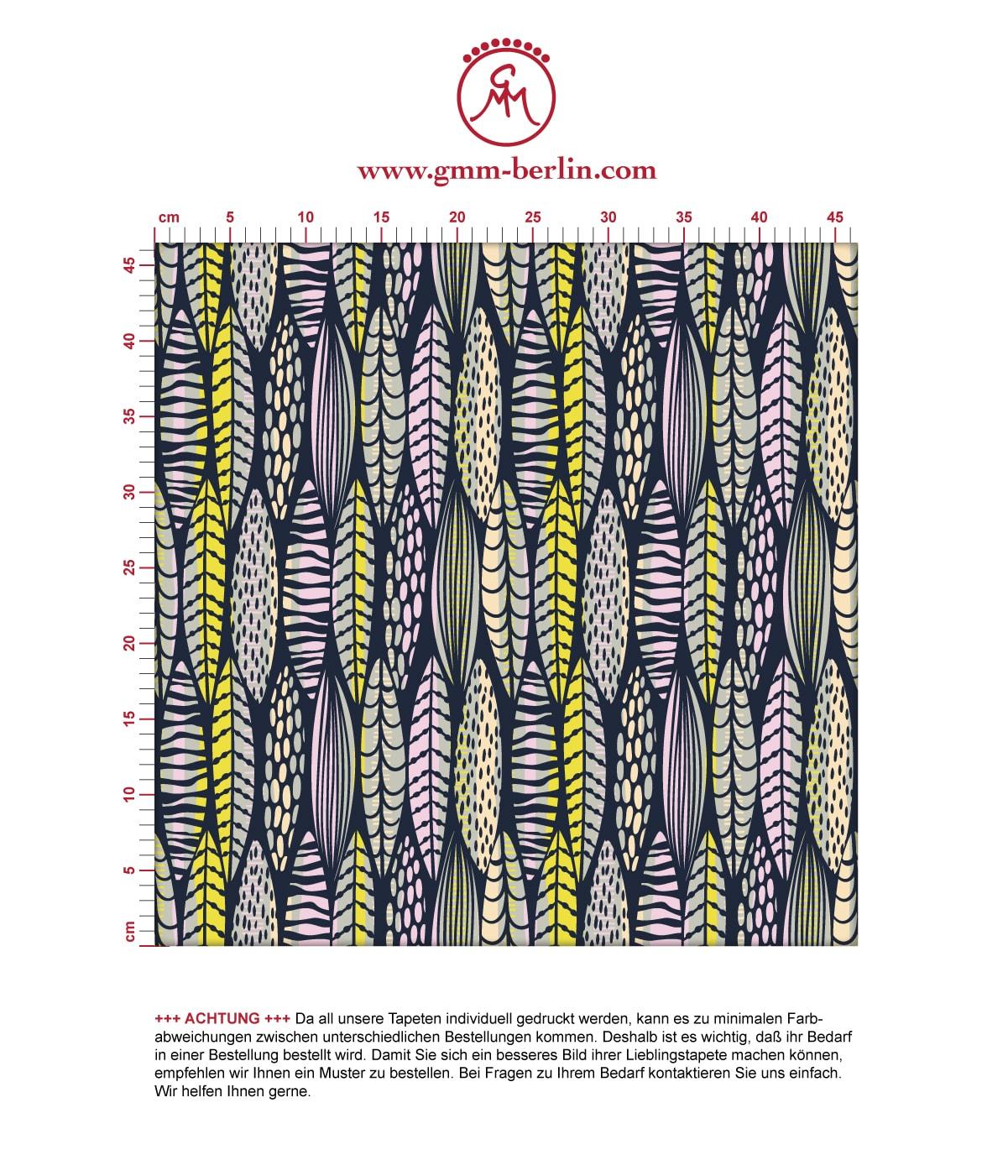 florale Tapete Streifen Blätter grafisch modern in dunkelblau - Streifentapete. Aus dem GMM-BERLIN.com Sortiment: Schöne Tapeten in der Farbe: gelb