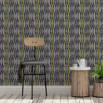 Wandtapete gelb: florale Tapete Streifen Blätter grafisch modern in dunkelblau - Streifentapete