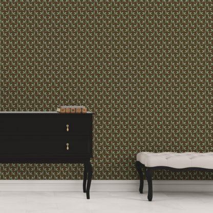 Tapete Wohnzimmer braun: Ornamenttapete Tea Time mit Tee Blättern in braun - Design Tapete für Wohnzimmer