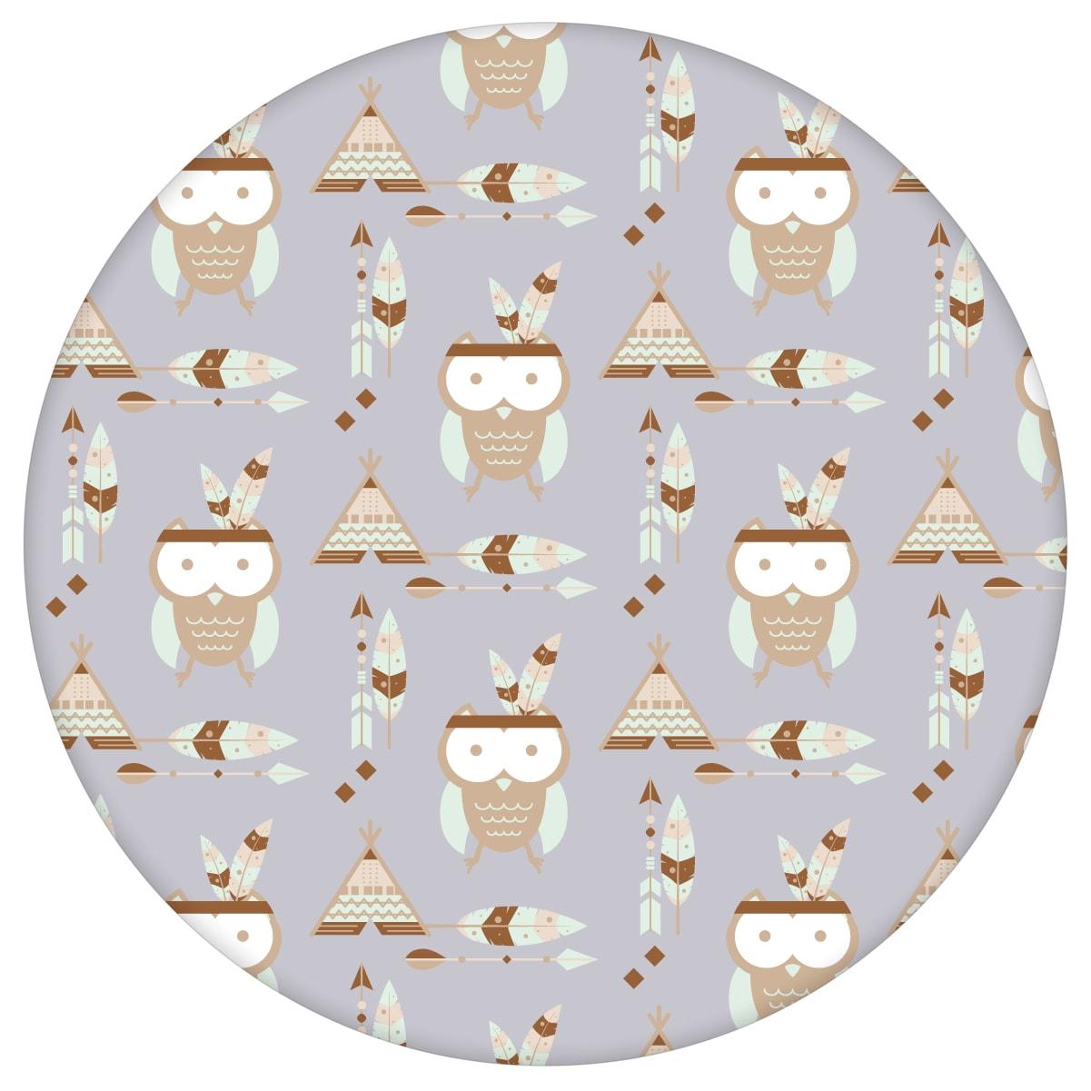 Kindertapete Indianer Eulen mit Federn in grau - Design Tapete für Kinderzimmer aus den Tapeten Neuheiten Exklusive Tapete für schönes Wohnen als Naturaltouch Luxus Vliestapete oder Basic Vliestapete